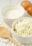 Cottage cheese with sour cream. Cottage cheese, sour cream and eggs Stock Image