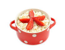 Cottage cheese with strawberries Stock Photos