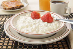 Cottage cheese and strawberries Stock Photo