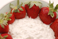 Cottage cheese strawberries Royalty Free Stock Image