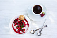Cottage cheese with strawberries and coffee. Breakfast. dessert - cottage cheese with strawberries and coffee Stock Photo