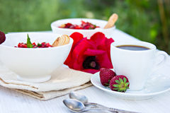 Cottage cheese with strawberries and coffee. Breakfast. dessert - cottage cheese with strawberries and coffee Royalty Free Stock Image