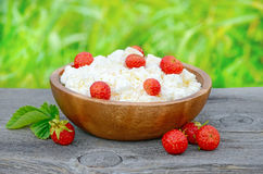 Cottage cheese with strawberries Stock Photography