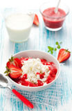 Cottage cheese with strawberry Royalty Free Stock Photography