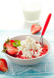 Cottage cheese with strawberry Stock Image