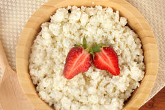 Cottage cheese with strawberry Stock Photo