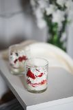 Cottage cheese and strawberry dessert. On a white tray Stock Images
