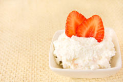 Cottage cheese with strawberry Royalty Free Stock Photo