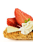 Cottage Cheese and Strawberry Sandwich Royalty Free Stock Images