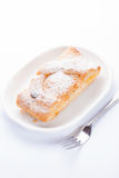 Cottage cheese strudel on white Royalty Free Stock Photos