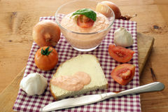 Cottage cheese with tomato Royalty Free Stock Photography