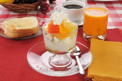 Cottage cheese and tropical fruit Stock Images