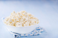 Cottage cheese in white bowl Royalty Free Stock Photography