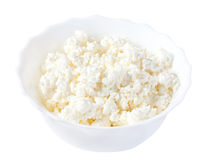 Cottage cheese on a white plate Stock Images