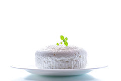 Cottage cheese in a white plate Stock Photos