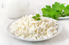 Cottage cheese on white plate Royalty Free Stock Photo