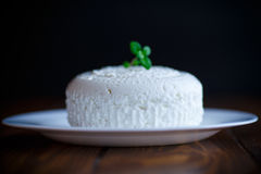 Cottage cheese in a white plate Royalty Free Stock Image