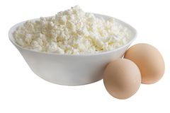 Cottage cheese in white plate with eggs Royalty Free Stock Images