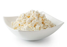 Cottage cheese in white plate Stock Image