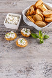 Cottage cheese with whole wheat rolls Stock Photos