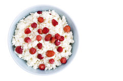 Cottage cheese with wild strawberry Stock Images