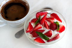 Cottage Cheese With Yogurt And Strawberries Royalty Free Stock Photo