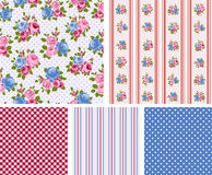 Cottage chic pattern. Shabby Chic Rose Patterns and seamless backgrounds. Ideal for printing onto fabric and paper or scrap booking Stock Images