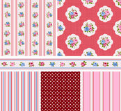 Cottage chic pattern. Shabby Chic Rose Patterns and seamless backgrounds. Ideal for printing onto fabric and paper or scrap booking Stock Photos