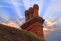 Cottage Chimney Stack Pots Stock Photos