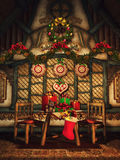 Cottage with Christmas gifts and ornaments Royalty Free Stock Images