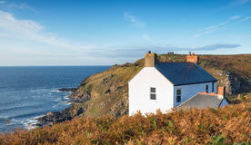 Cottage on the Cliffs. A cottage on the cliffs at Cape Cornwall on the Cornish coastline Stock Images