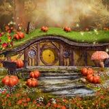 Cottage coloré de conte de fées illustration de vecteur