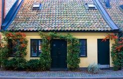 Cottage con il tetto di mattonelle Fotografia Stock