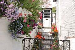 Cottage con le piante in vaso ed i canestri d'attaccatura in Polperro di estate immagine stock libera da diritti