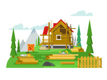 Cottage construction flat design Royalty Free Stock Photos