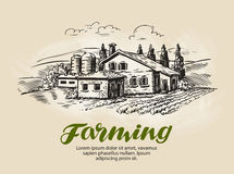 Cottage, country house sketch. Farm, rural landscape, agriculture, farming vector illustration Stock Photos