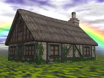 Cottage in countryside. Scenic illustration of picturesque cottage in countryside with rainbow in background Stock Photography