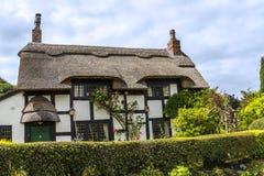 Cottage couvert de chaume noir et blanc dans Cheshire Countryside près du bord d'Alderley Photo libre de droits