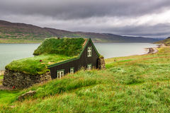 Cottage covered with grass on the roof, Iceland Royalty Free Stock Photography