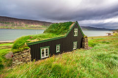 Cottage covered with grass on the roof, Iceland Stock Image