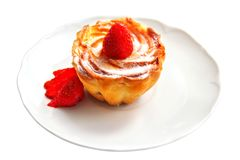 Cottage cream muffin with fresh strawberry Stock Photo