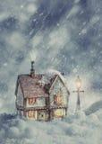 Cottage d'hiver Photo libre de droits