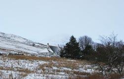 Cottage d'hiver et colline de Milou Image stock