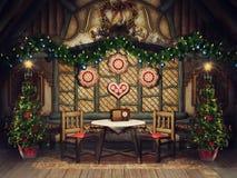 Cottage de cru avec des arbres de Noël illustration stock