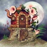Cottage de fée de théière illustration de vecteur