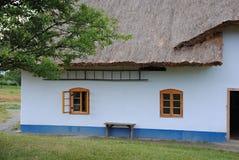 Cottage de pays avec un toit de paille photos libres de droits