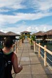 Cottage della spiaggia su acqua Fotografia Stock