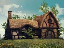 Cottage di favola su una collina illustrazione vettoriale