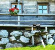 Cottage di legno nelle montagne delle alpi Fotografie Stock Libere da Diritti