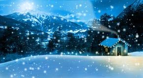 Cottage di Natale nelle alte montagne Fotografie Stock Libere da Diritti